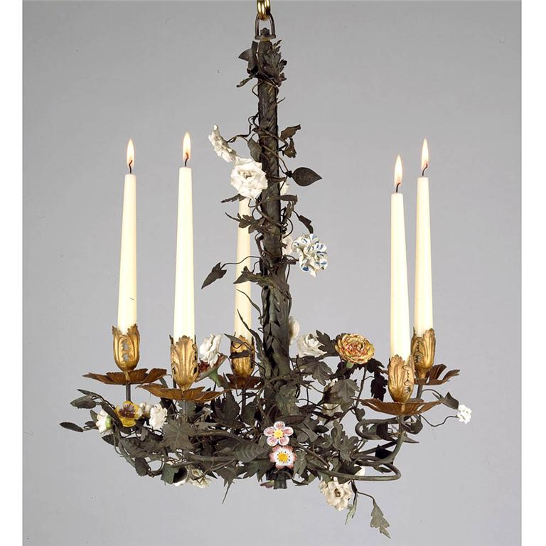 A French Tole Chandelier With Porcelain Flowers